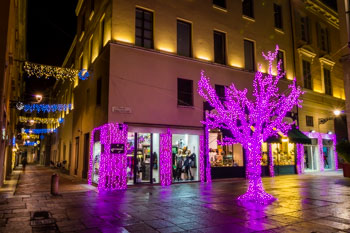 Christmas decoration in the center (winter), Parma, Italy
