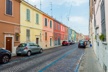Colorful houses on the Via della Salute, Parma, Italy