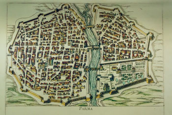 Historical map of Parma (13th century), Italy