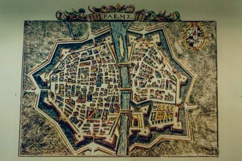 Map of the ancient city of Parma (XIII century), Italy