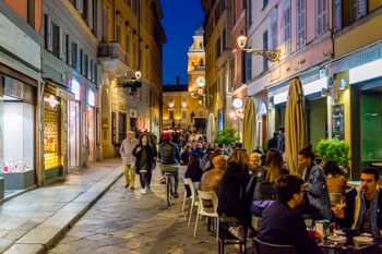 Nightlife in the center, Parma, Italy