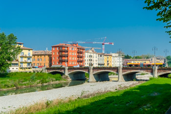 Ponte Di Mezzo (Middle bridge) in summer, Parma, Italy