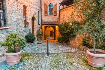 Street in the historical center of Castell'Arquato, Parma, Italy