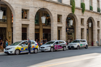 Taxis in the center, Parma, Italy