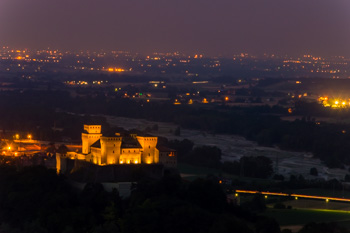 Torrechiara castle at night, Parma, Italy