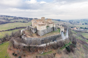 Torrechiara Castle in winter, aerial view, Parma, Italy